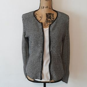 H&M Black and White Knit Faux Leather Trim Jacket